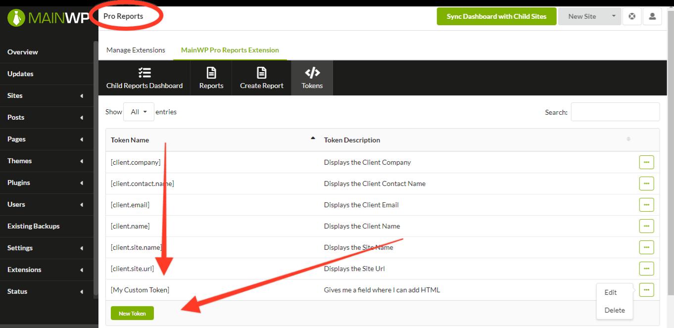 MainWP Custom Token