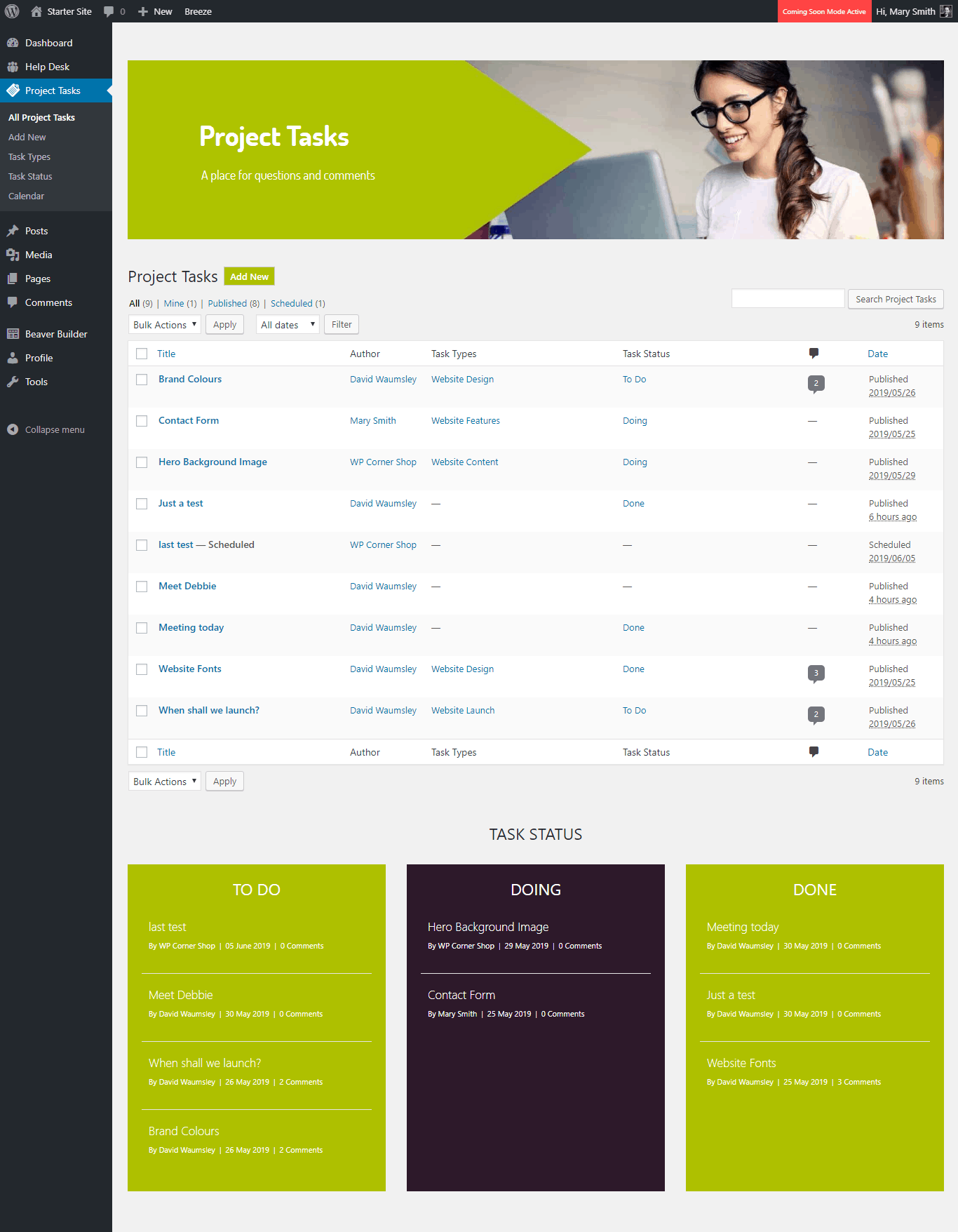 WPTasks-Page
